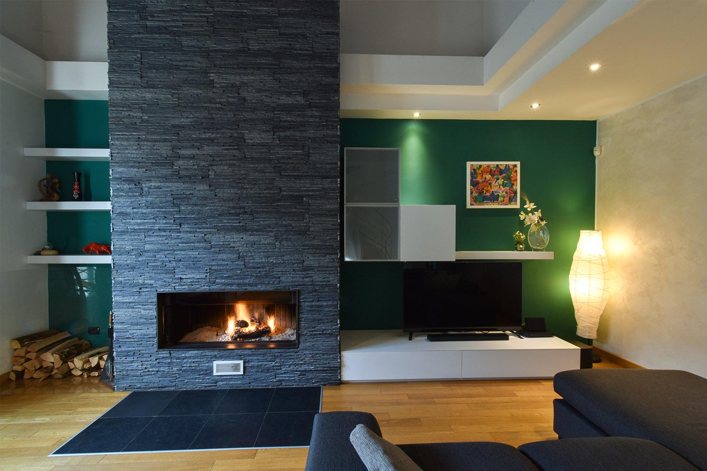 casa privata milano progetto interni colore verde soggiorno (2)