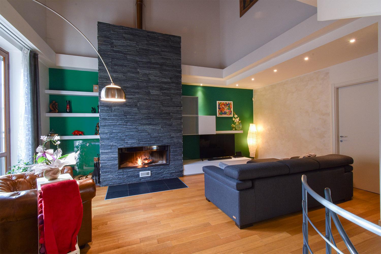 casa privata milano progetto interni colore verde soggiorno (7)